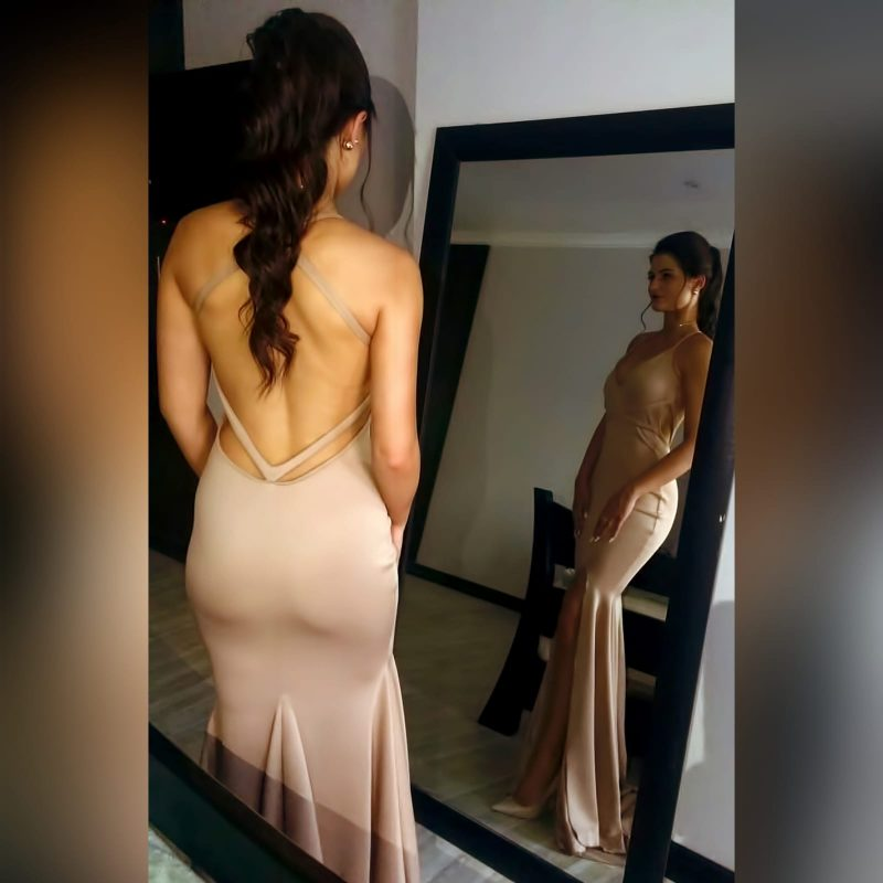 Tan sexy soft mermaid prom dress (2)