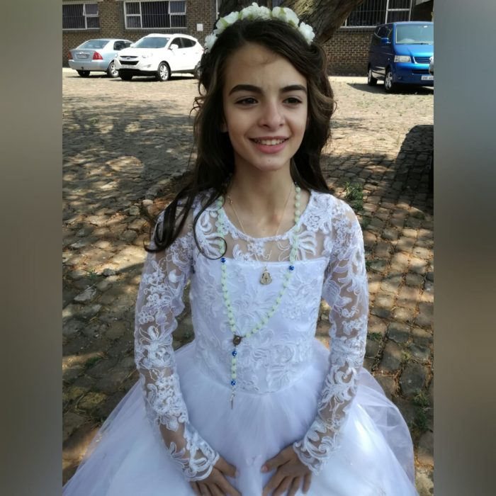 Vestido branco de comunhão corpete de renda (7)