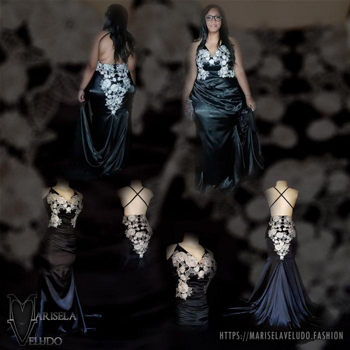 Um vestido de baile em cetim preto longo