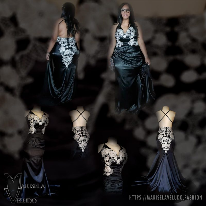 A black satin long fitted prom dress with silver lace detail