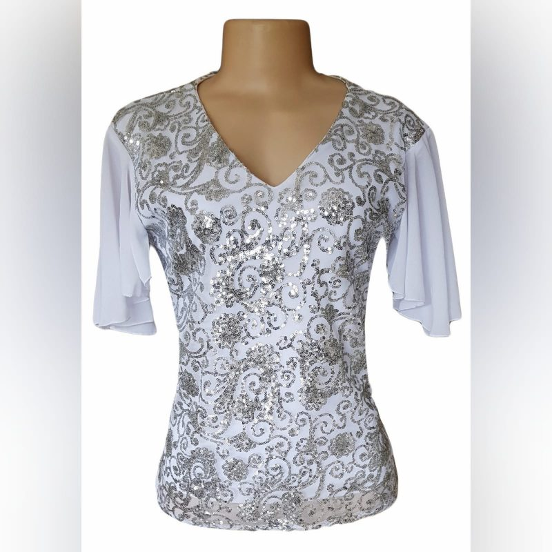 White patterned sequins smart casual top (1)