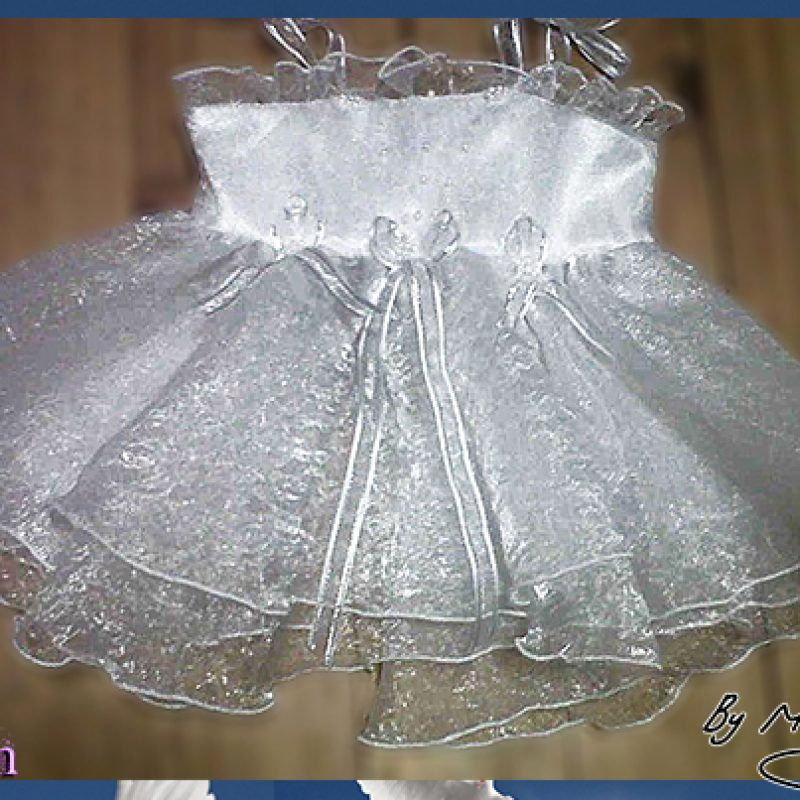Baptism/Christening white dress made in satin with a double layer of crushed organza